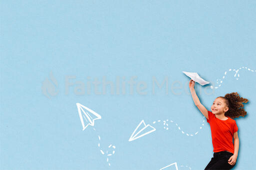 Girl Throwing Illustrated Paper Airplanes