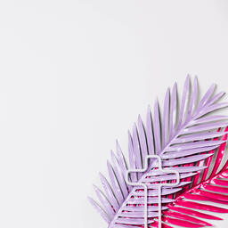 Hot Pink and Purple Palm Leaves with a Minimalist Cross Outline  image 5
