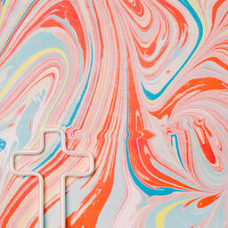 White Cross Outline on Pastel Marbled Background  image 5
