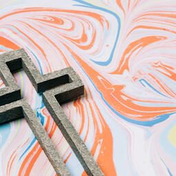 Cross on Pastel Marbled Background  image 5