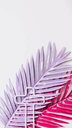Hot Pink and Purple Palm Leaves with a Minimalist Cross Outline  image 4