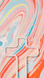 White Cross Outline on Pastel Marbled Background  image 3