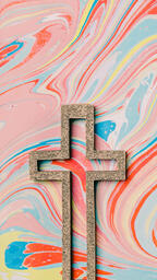 Cross on Pastel Marbled Background  image 8