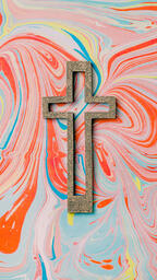 Cross on Pastel Marbled Background  image 9