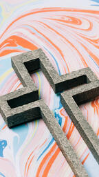 Cross on Pastel Marbled Background  image 3