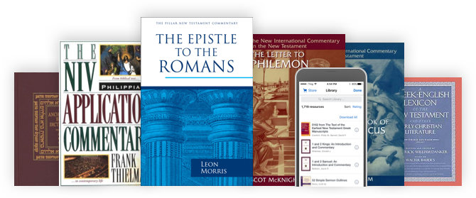 A lineup of trusted commentaries, Bible dictionaries, and more, alongside an iPhone with a Logos library that includes all of those same titles and more