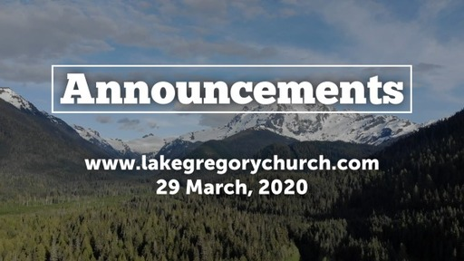 Announcements, Sunday, March 29, 2020