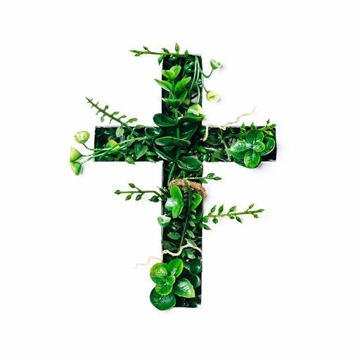 Cross with Greenery Poking Through