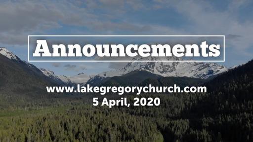 Announcements, Sunday, April 5, 2020