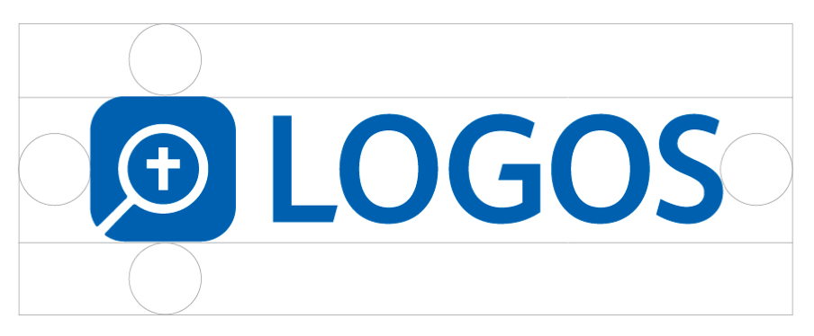 When using the Logos logo, leave a minimum space of half of the text's line height on all sides of the logo