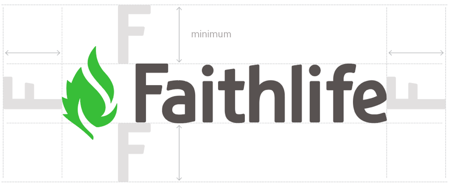 When using the Faithlife logo, leave a minimum space of the text's line height on all sides of the logo