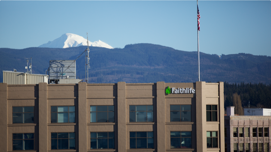 A photo of the Faithlife campus in Bellingham, Washington with Mt. Baker in the background