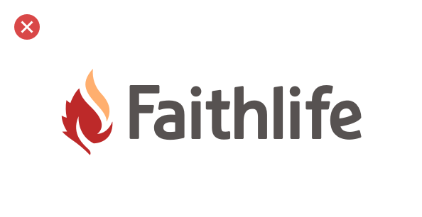 A bad example: changing the Faithlife brand mark from green to orange and red