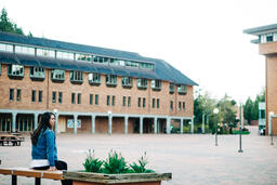 Student Sitting in an Empty College Campus  image 3