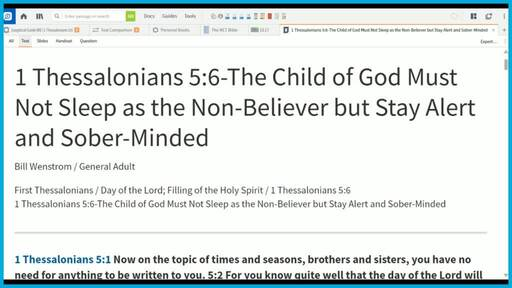 1 Thessalonians 5:6-The Child of God Must Not Sleep as the Non-Believer but Stay Alert and Sober-Minded