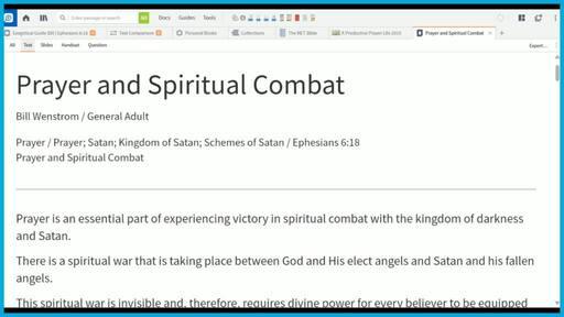 Prayer and Spiritual Combat