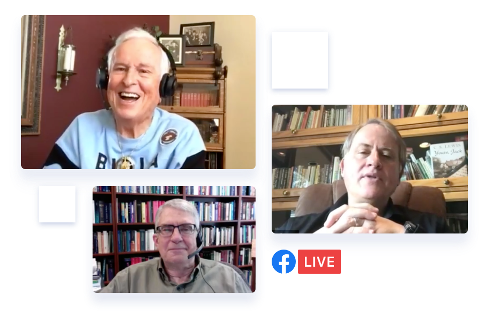 several Christian thought leaders on a Facebook live session together