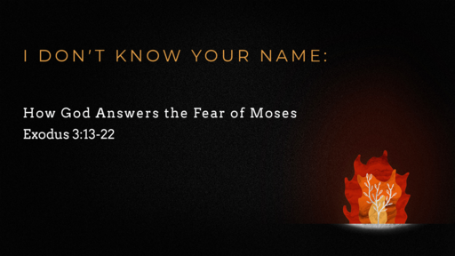 I Don't Know Your Name:  How God answers the fear of Moses.