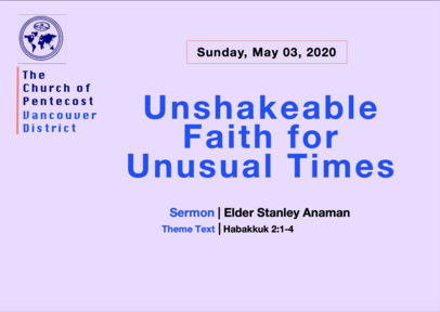 Unshakeable Faith For Unusual Times