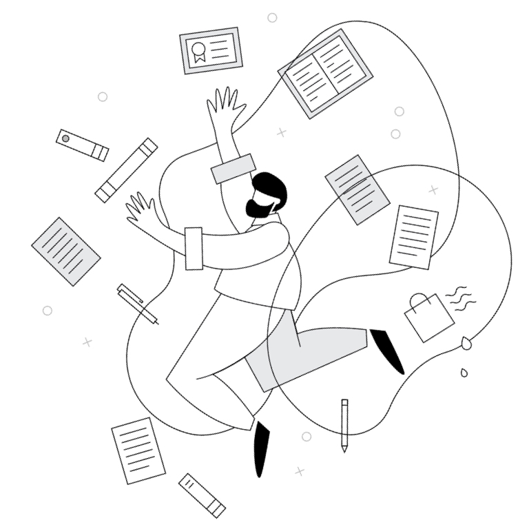 Cartoonish frazzled-looking man surrounded by disorganized books and papers