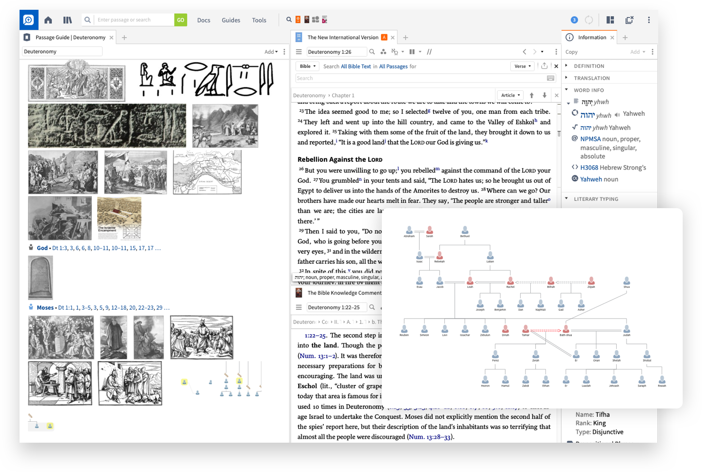 Screenshot of Logos showing geneaologies and images