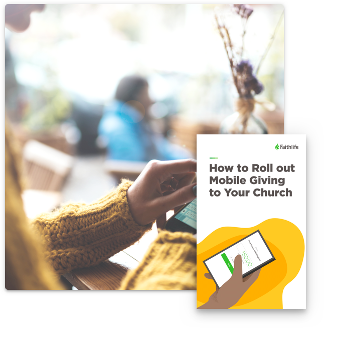 Woman on cell phone and How to Roll out Mobile Giving to Your Church guide