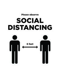 Social Distancing Sign 1 B&W image