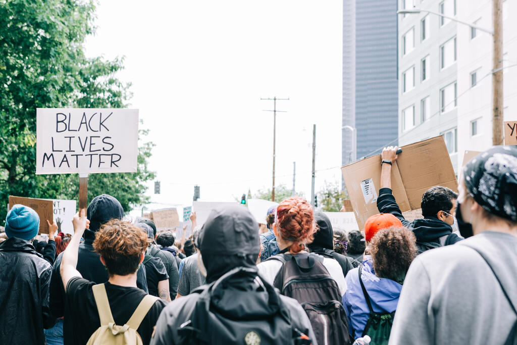 Peaceful Protesters Holding Black Lives Matter Signs large preview