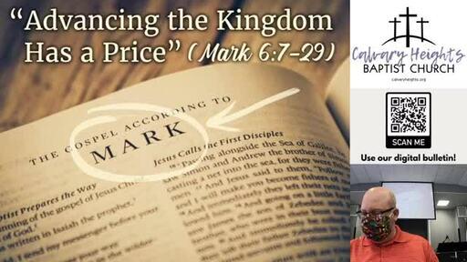 Sunday Sermon - Advancing the Kingdom Has a Price