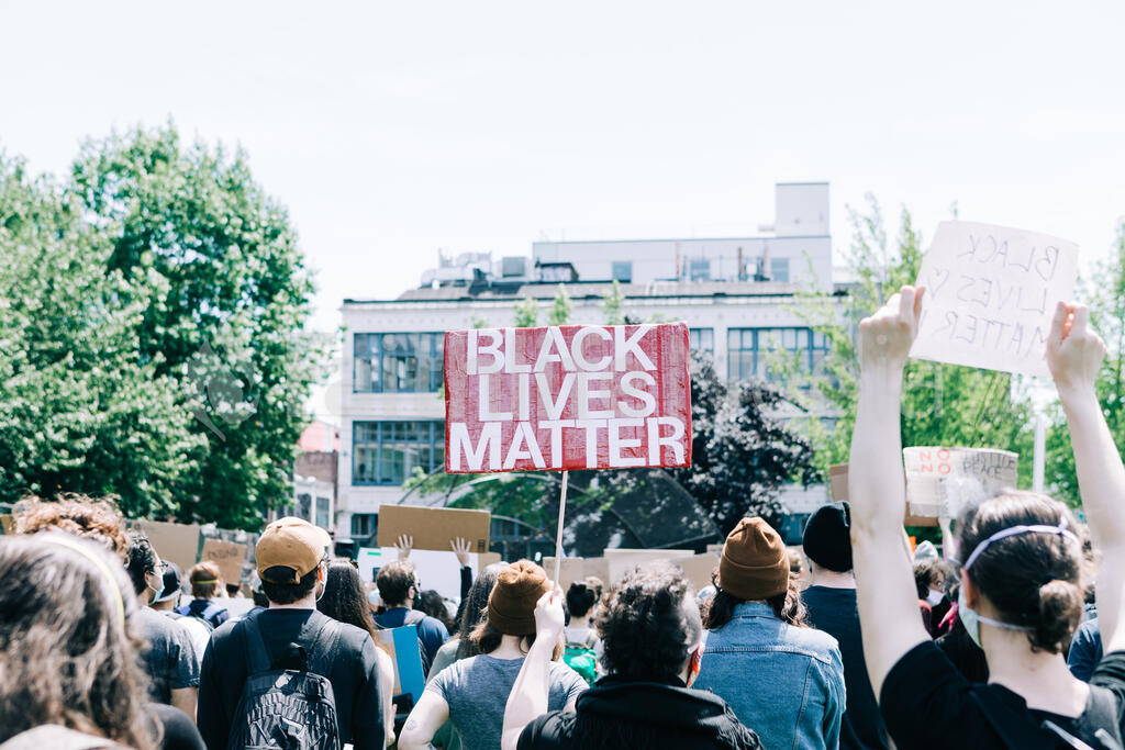 Peaceful Protesters with Black Lives Matter Signs large preview