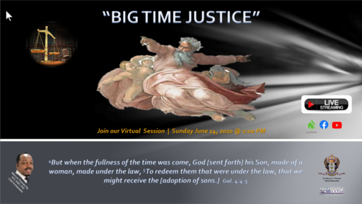 "Mercury Thomas-Ha, PhD on the Subject of ""Big Time Justice"" Sunday, June 14, 2020 @ 2:00 PM"