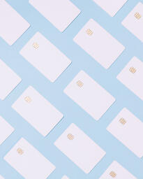 White Credit Cards on a Blue Background  image 19