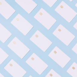 White Credit Cards on a Blue Background  image 8