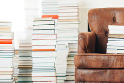 A Stack of Books on a Chair Surrounded by Books  image 5