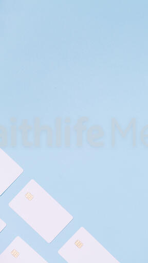 White Credit Cards on a Blue Background