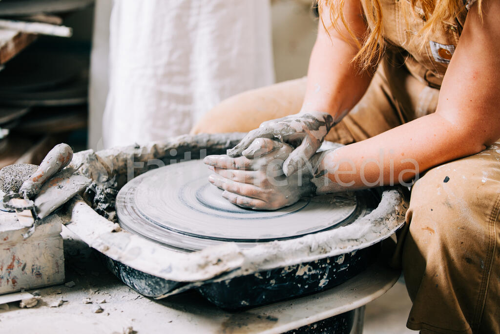 Pottery Being Made on a Pottery Wheel large preview