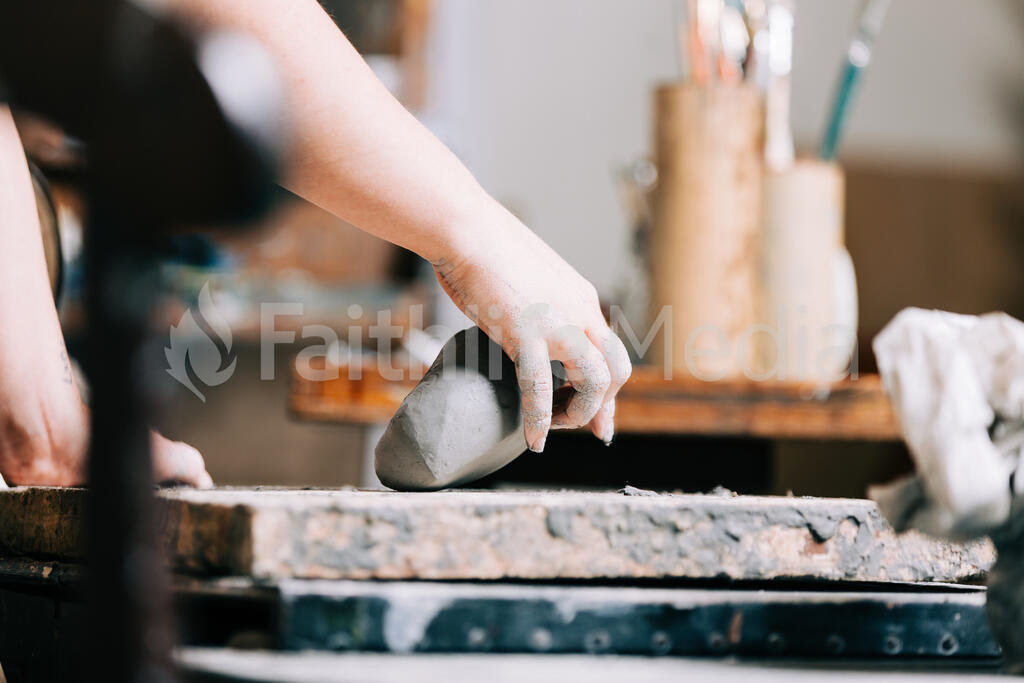 A Woman Making Pottery large preview