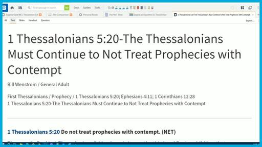 1 Thessalonians 5:20-The Thessalonians Must Continue to Not Treat Prophecies with Contempt