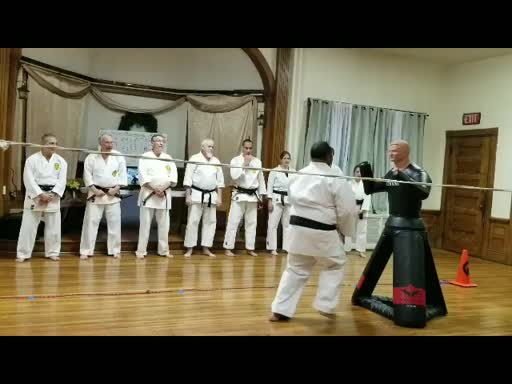 Sensei Richard Scott teaching his students in 2019 along with visitors from The Netherlands and Canada.
