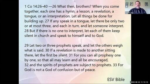 873 1 Cor.14.26-40 Order and Silence in the Church