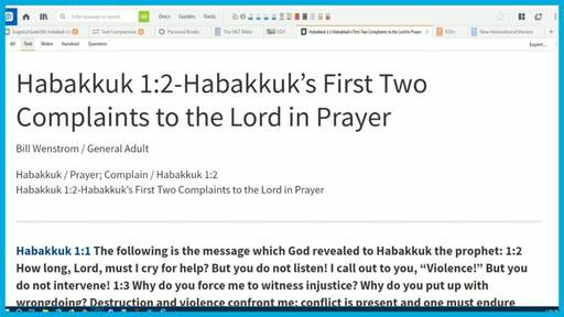 Habakkuk 1:2-Habakkuk's First Two Complaints to the Lord in Prayer