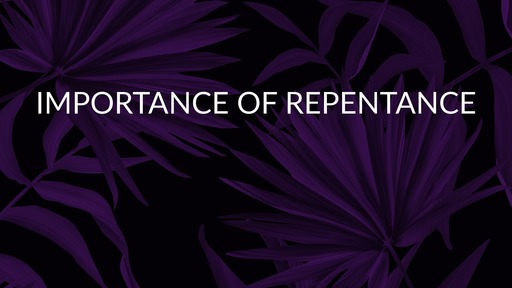 Importance of repentance