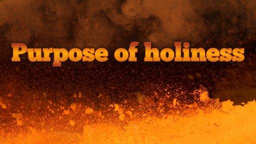 Purpose of holiness