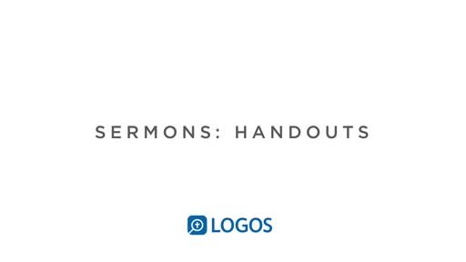 Sermon Editor Handouts