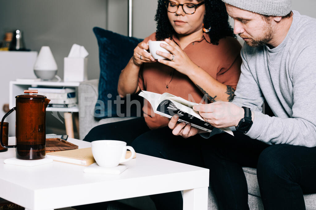 Couple Reading and Drinking Coffee large preview
