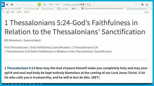 1 Thessalonians 5:24-God's Faithfulness in Relation to the Thessalonians' Sanctification