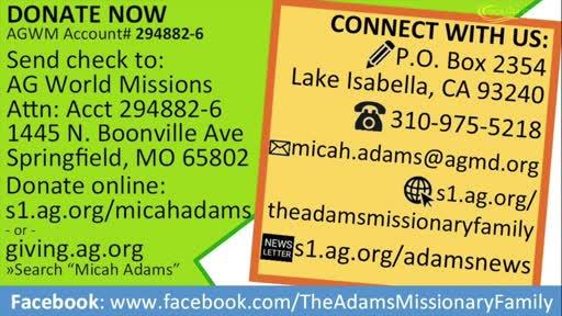Assemblies of God Missionaries: Micah and Karissa Adams