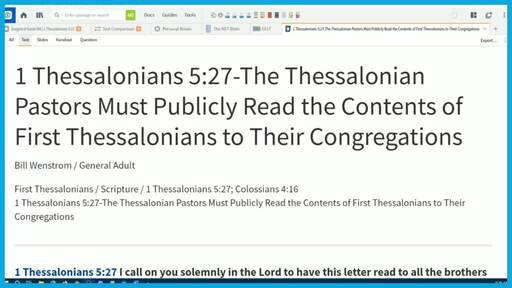 1 Thessalonians 5:27-The Thessalonian Pastors Must Publicly Read the Contents of First Thessalonians to Their Congregations