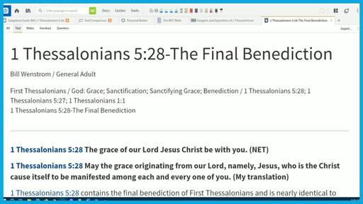 1 Thessalonians 5:28-The Final Benediction
