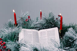 Bible Open to the Christmas Story with Greenery and Candles  image 1